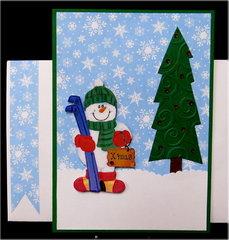 Snowman and Tree Xmas Card