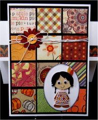 Squares Indian Girl Thanksgiving Card