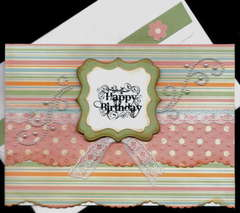 Stripe Dots Lace Birthday Card