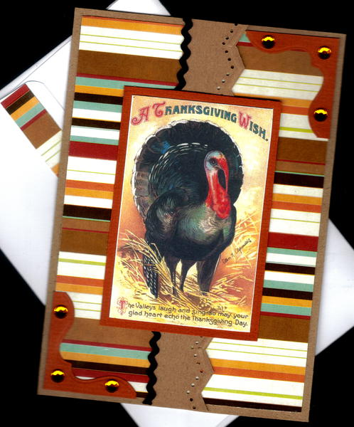 Striped Turkey Gf Thanksgiving Card