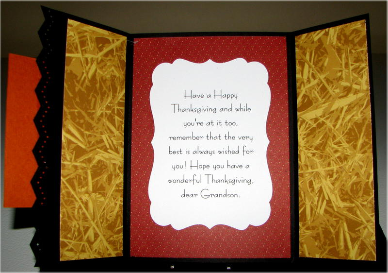 Turkey Pumpkin Corn Gate Fold Thanksgiving Card Inside