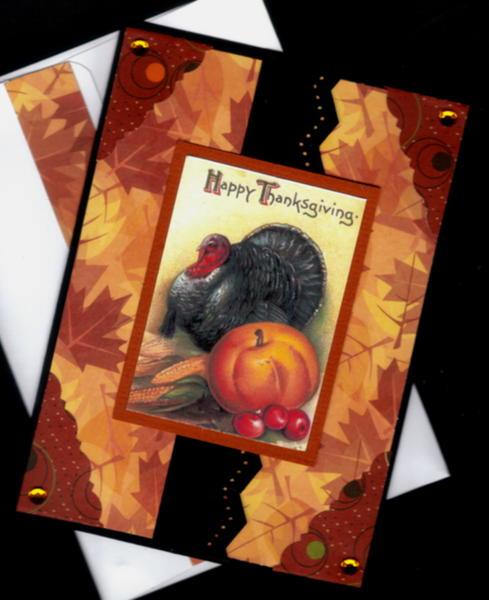 Turkey Pumpkin Corn Gate Fold Thanksgiving Card