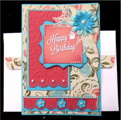 Turq Pink Floral Pearls Birthday Card