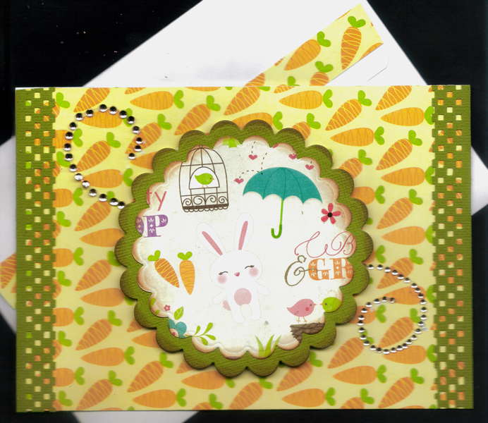 White Bunny Carrots Easter Card