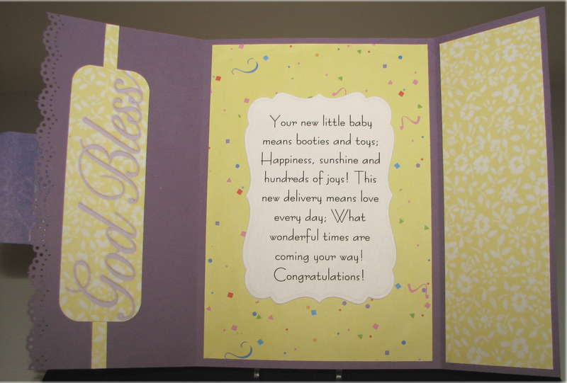 Yellow And Purple Baby Card Inside