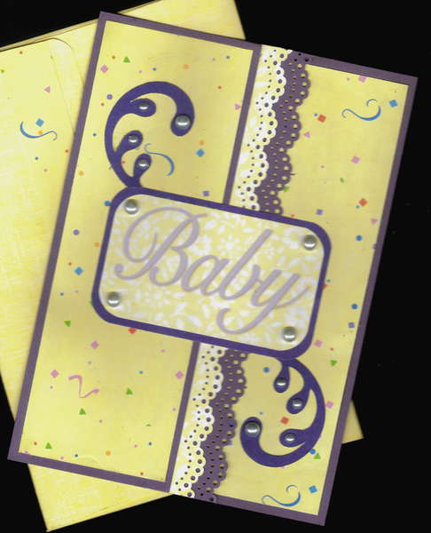 Yellow And Purple Baby Card