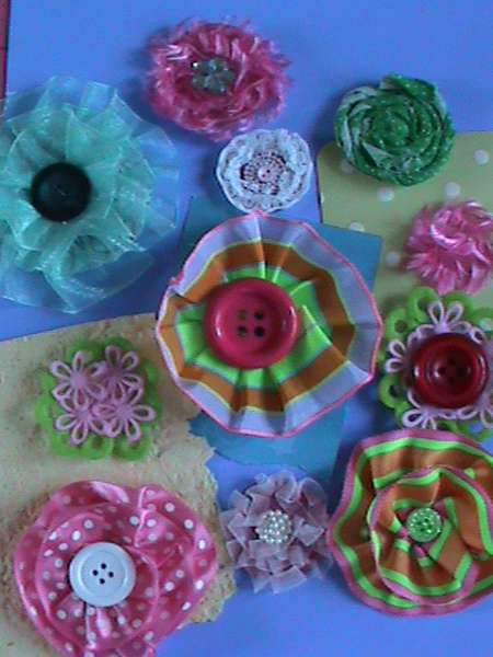 Fabric Flowers from trim, ribbon and fabric--using Homemade Adhesive Dots!