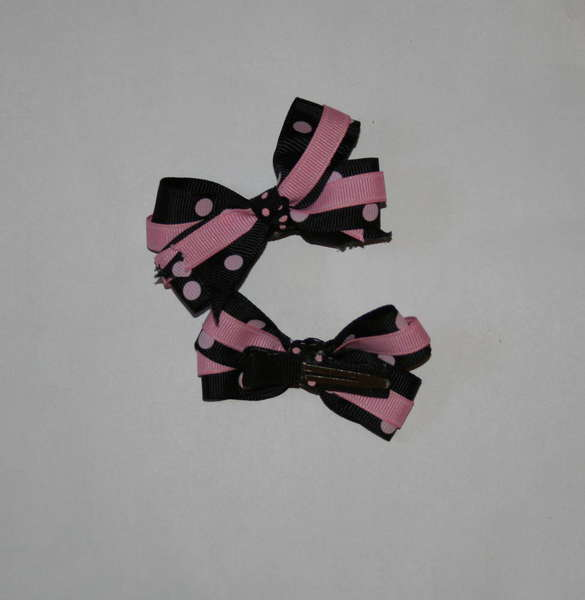 Black with pink polka toddler bows