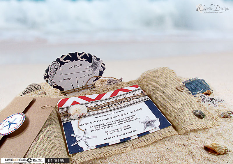 Nautical Wedding Invitation and RSVP Card SVG Cut File