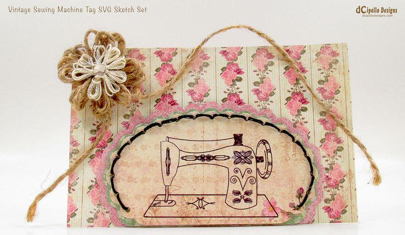 Vintage Sewing Machine Tag SVG Sketch Set