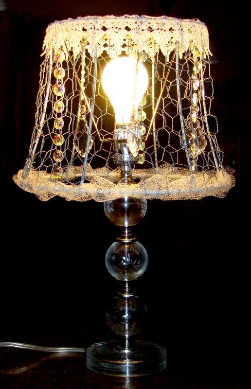 Chicken wire altered lamp