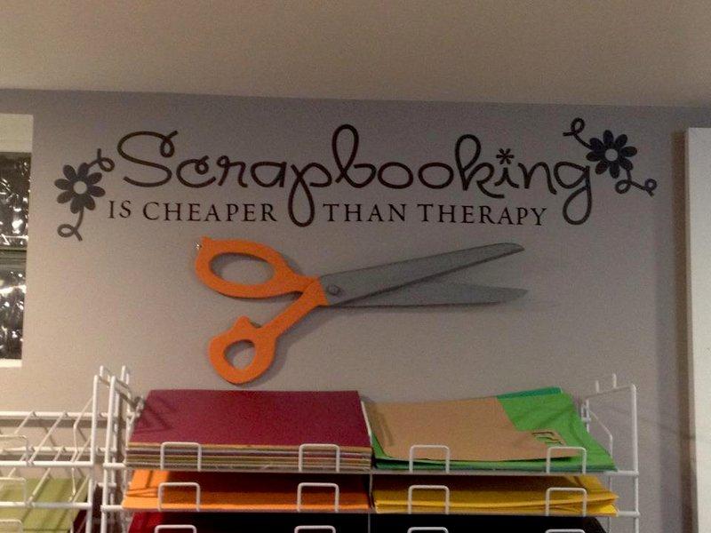 wall vinyl and wooden scissors