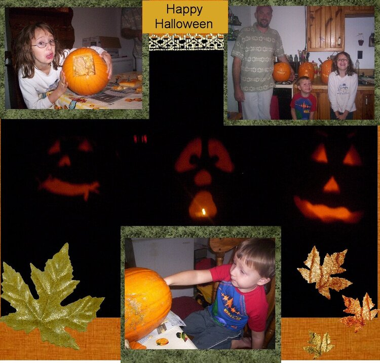 Carving pumkins with dad