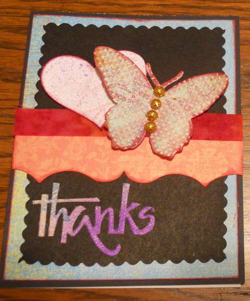 Thanks Card butterfly heart