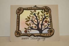 Happy Thanksgiving framed tree card