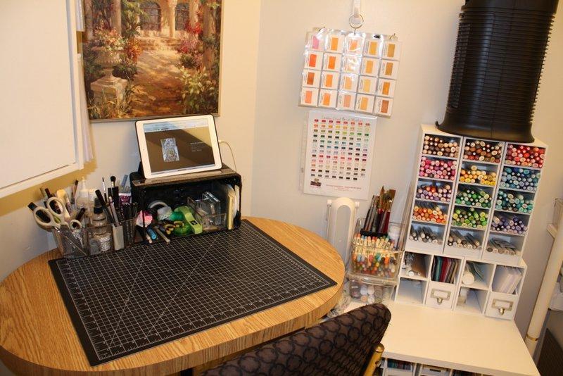 Copic marker cubbies & my workspace