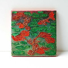 Koi Pond Mixed Media Canvas by Yvonne Yam