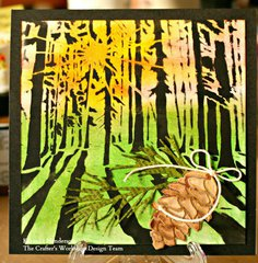 A Sunlit Forest and a Pinecone: New Stencils! by Karen Liz Henderson