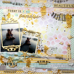 A day in paradise � Stencils with Pastels by Sanna Lippert