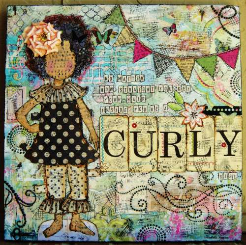 Curly Girl - She Art Canvas mixed media project