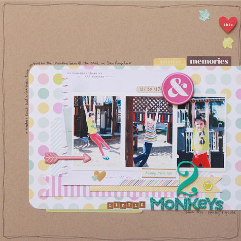 2 little Monkeys *American Crafts Dear Lizzy 5th and Frolic