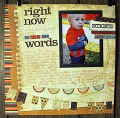 Right Now: Words, Jan 2012 (*SHCG MC #2*)