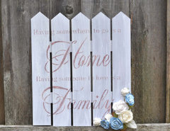 Home Blessings Stenciled Wood Picket Fence