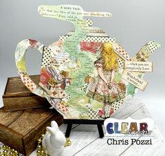 Alice Themed Tea Pot Chipboard Wall Decor