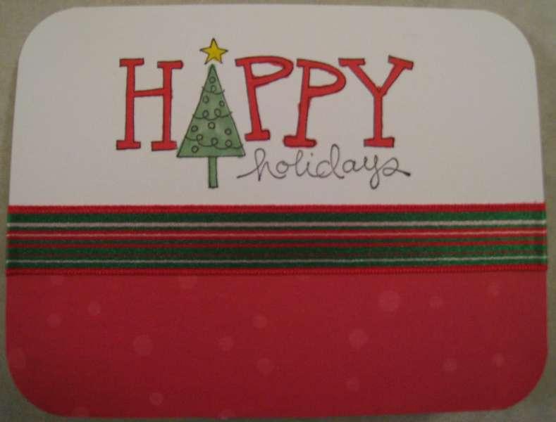 Happy Holidays Striped Ribbon