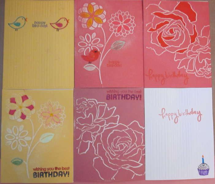 6 Embossed Birthday Cards