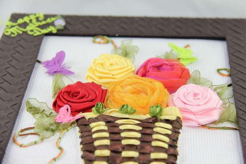 Framed Ribbon Spring Flowers