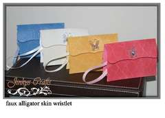 Faux Alligator Skin Wristlet