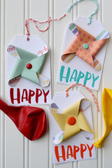 *We R* Pinwheel Letterpress Birthday Tags