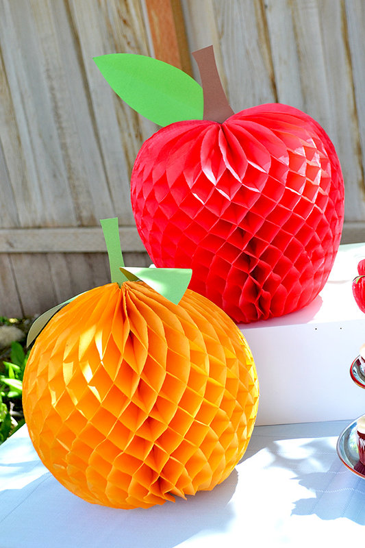 Honeycomb Paper Fruit Party Decor