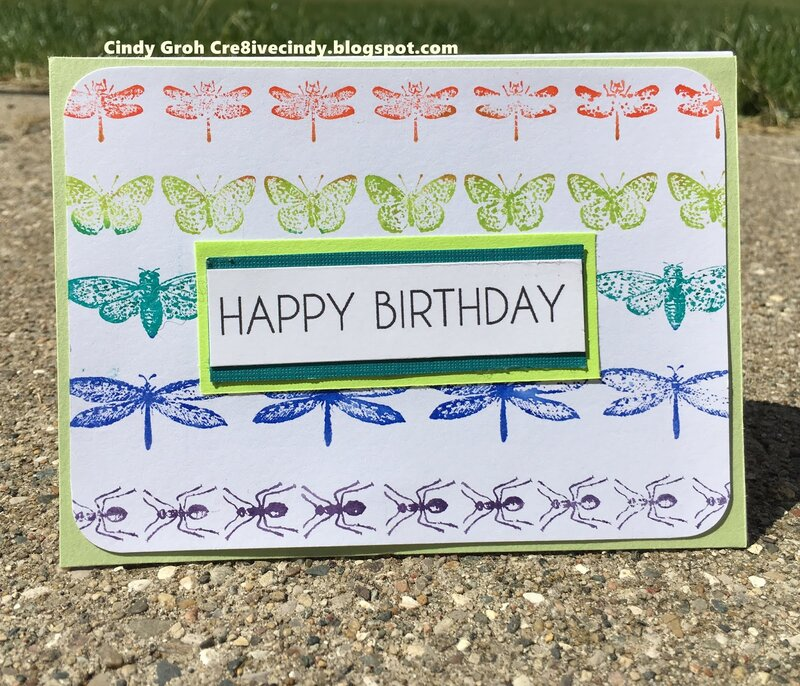 Deep Red stamps birthday card