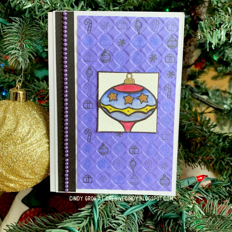 Purple pearls Christmas Ornament card