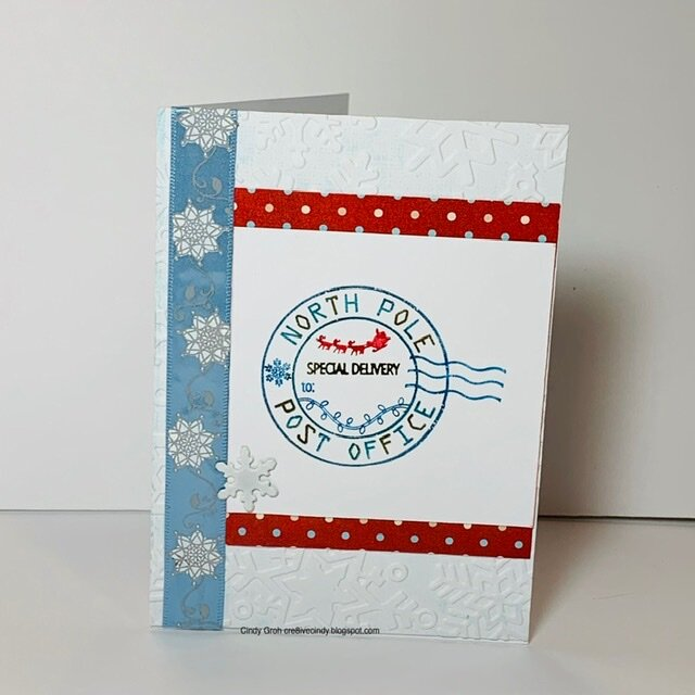 Deep Red stamps North Pole card