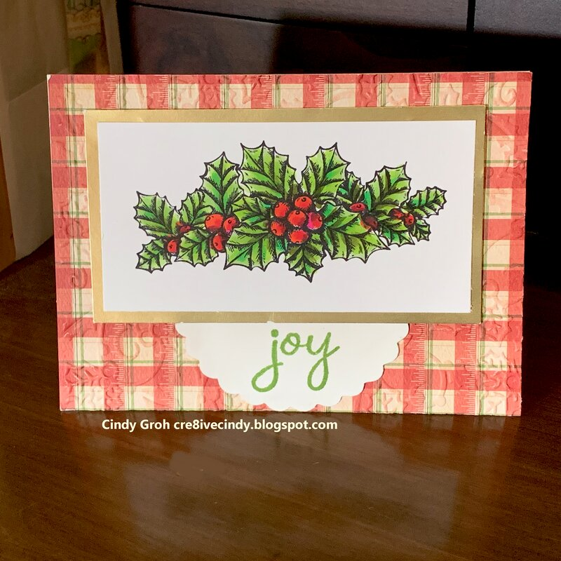 Deep Red Stamps Joy card