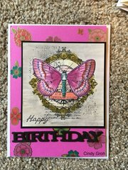 Deep Red Stamps Butterfly birthday