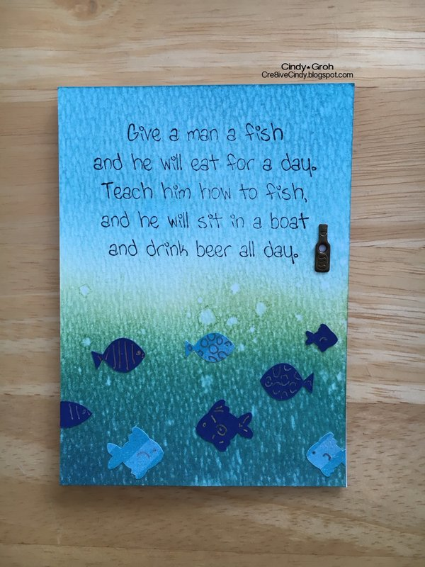 Deep Red Stamps Fishing card