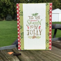 Deep Red Stamp Jolly Christmas