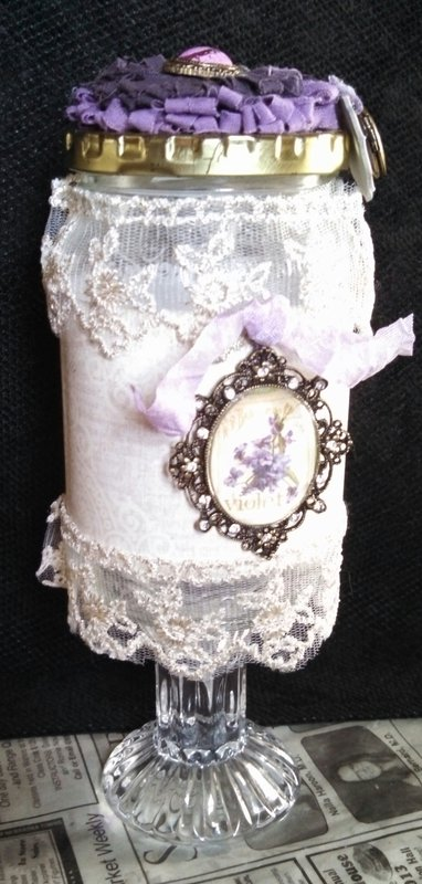 Purple & Lace Vintage Altered Jar