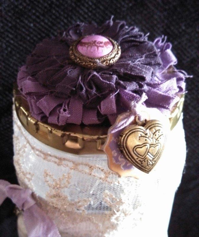 Purple & Lace Vintage Altered Jar