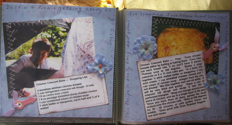 Scrapbook Layout - Dustin's Cookbook - Chicken Crescent Bake -Two Pages