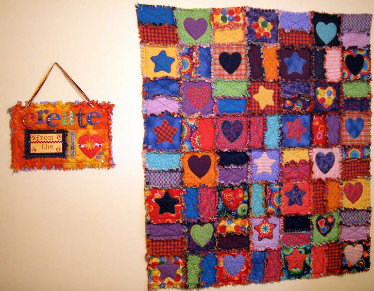 rag quilt and altered art wall hanging