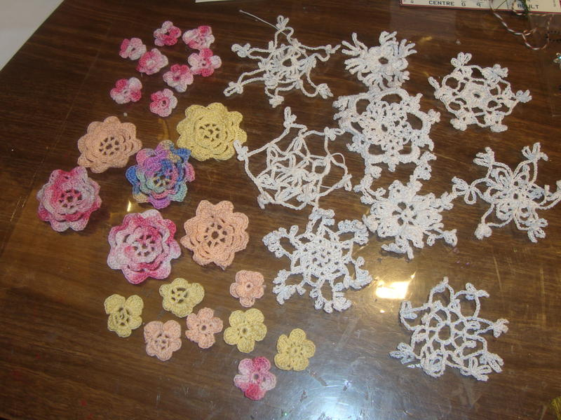 crocetted flowers and snowflakes