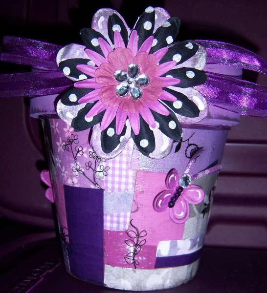 Purple/Black Mod Podge Pot