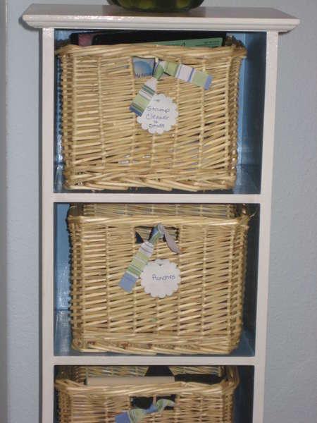 Close up of basket shelf.