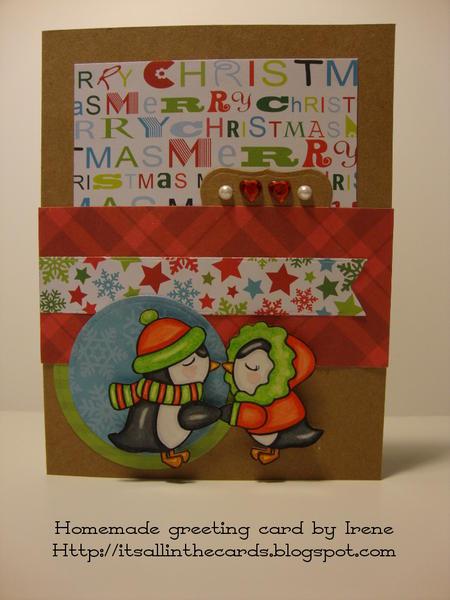 Penguins Kissing Christmas Card