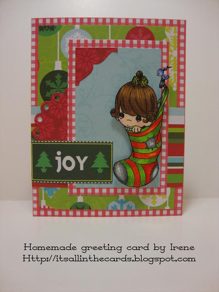 Girl in Stocking Precious Moments Christmas Card